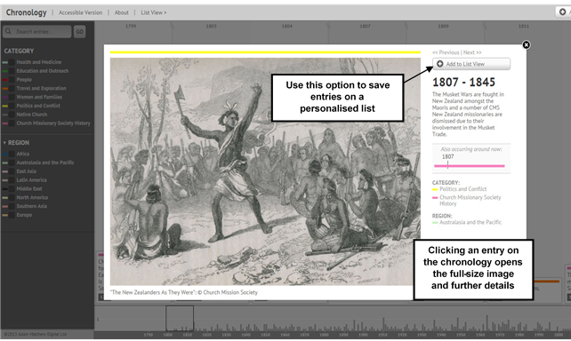 Screenshot showing that clicking on an entry opens a new window with further details and a full-size image, where applicable. You can save entries to a personalised chronology by clicking 'Add to List View'.