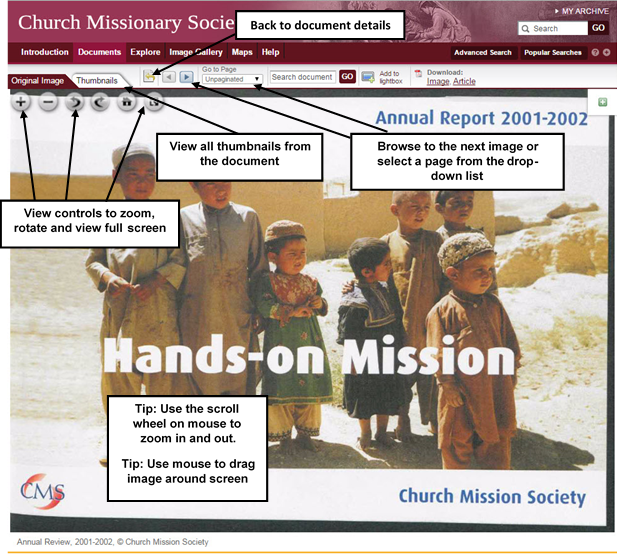 Screenshot showing a document in the image viewer. Select the 'Thumbnails' tab to see the document's thumbnails. Use the 'Go to' drop-down menu and the next/previous buttons to navigate between pages. Use the 'Search Document' box to search full text searchable documents. Numbers of hits will be displayed in red next to the box after a search is performed. The zoom in/out buttons, the toggle full screen, rotate left/right buttons and the Go Home button are located in the top left corner of the image viewer.