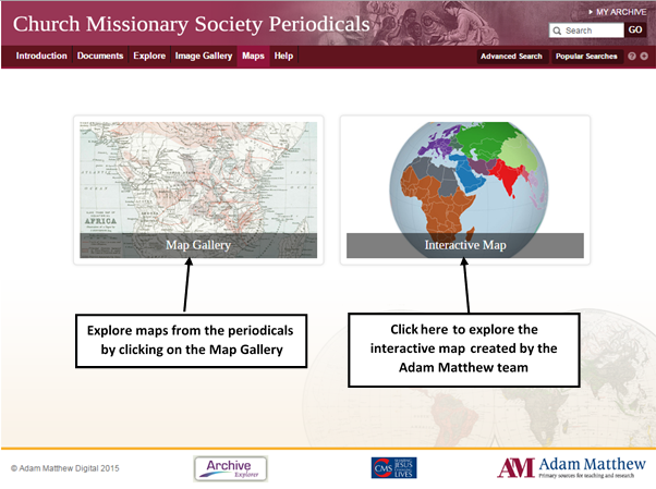 Screenshot showing the Maps landing page, with links to the Map Gallery and the Interactive Map.